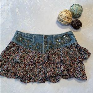 Express Studded Floral Ruffle Mini Skirt. Sz.4